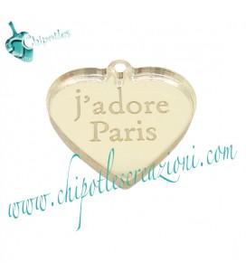 Ciondolo Cuore j'adore Paris 20x21 mm Plexiglass Specchiato Oro