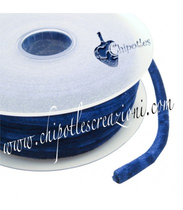Tubolare Lycra Velluto Blu 5 mm