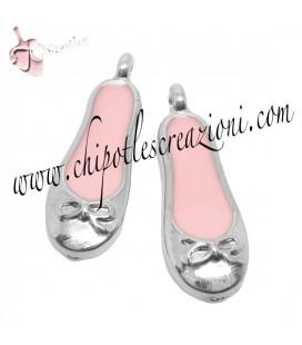 Ciondolo Smaltato Scarpetta da Ballo Rosa 22x7,5 mm