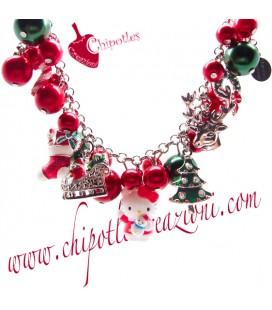 Bracciale Kitty Babbo Natale con Ciondoli Smaltati