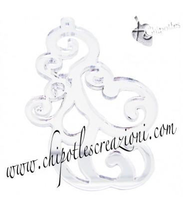 Ciondolo Filigrana 64x39 mm, plexiglass specchiato color Argento