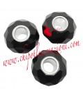 Perla Rondella Foro Largo 14x9 mm Mezzo Cristallo colore Nero
