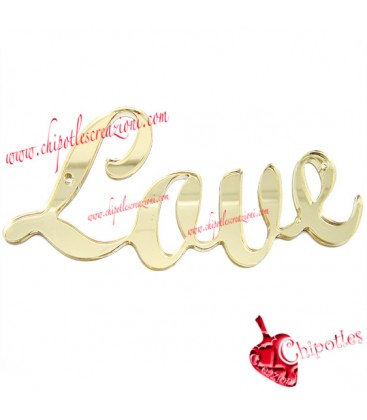 Ciondolo Connettore Grande Love 104x48 mm Plexiglass Specchiato color Oro