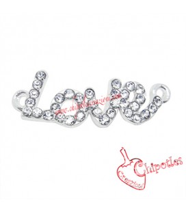 Ciondolo Connettore Love con Strass 30x10 mm