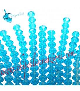 Filo (40-41 cm) Perle Rondelle 8 mm Acquamarina Mezzo Cristallo
