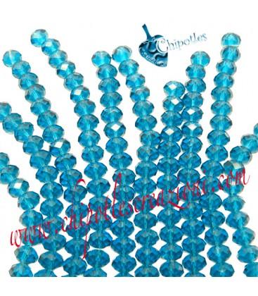 Filo (40-41 cm) Perle Rondelle 8 mm Indicolite, Mezzo Cristallo