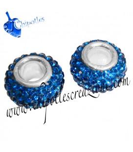 Distanziatore Perla Foro Largo Blu ARGENTO 925 con Cristalli Cechi