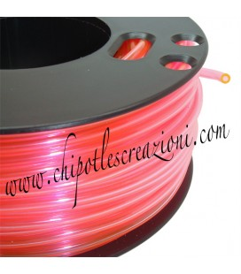 Cordoncino PVC Trasparente 4 mm Forato color Pesca Fluo (1 metro)