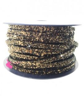 Cordoncino Piatto Glitter 5 mm Effetto Paillettes Bronzo