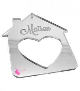 Ciondolo Casa Maison con Cuore 70x80 mm Plexiglass Specchiato Argento